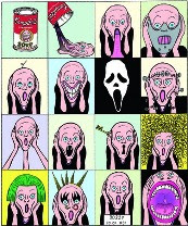 Edvard Munch's 'Scream' as done by Andy Warhol - parody by Arvid Andreassen