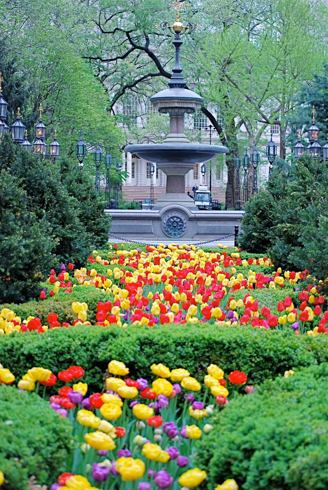 Nyc Nyc The Mould Fountain And Spring Flowers In City Hall Park