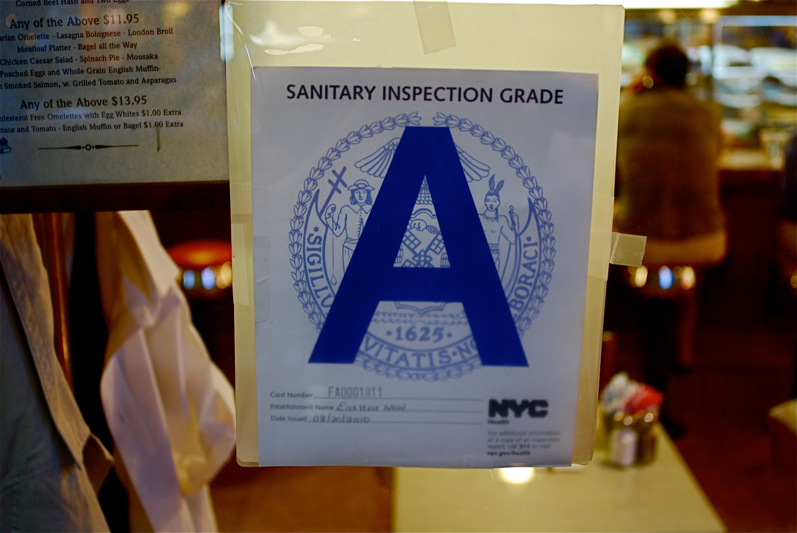 NYC ♥ NYC: Cleanliness Letter Grades In Restaurant Windows