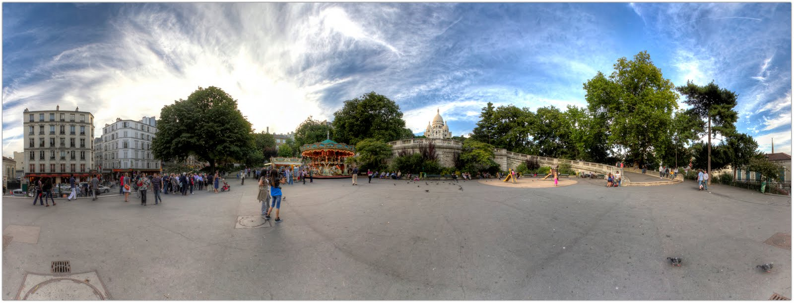 Place Saint Pierre, Montmartre (Paris 18).Panorama 360 Hdr