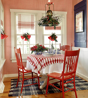 The jewel box home christmas cottages for Red and white country kitchen ideas