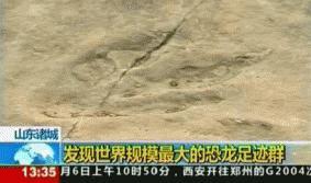 Hallan huellas de dinosaurio en China