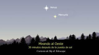 Ilustración del cielo para observar Venus y Mercurio en los próximos días- SKY & TELESCOPE