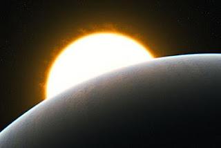 Recreación artística del planeta HD209458b, conocido como Júpiter caliente. ESO / L. Calçada