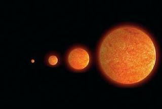 Ilustración en la que se compara la estrella VV Cephei con otros astros conocidos- ESO / NASA