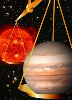 Representación del cálculo de la masa de Júpiter respecto a la del Sol. CSIRO