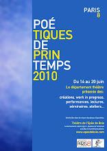 Poétiques de Printemps / Paris 8 au Théâtre de l'Epée de Bois