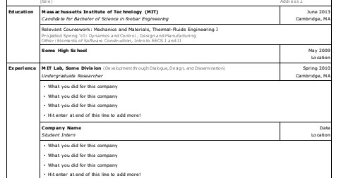 Nouyang: [free] Open Office Resume Template For Undergraduates (MIT)   For  UPOP