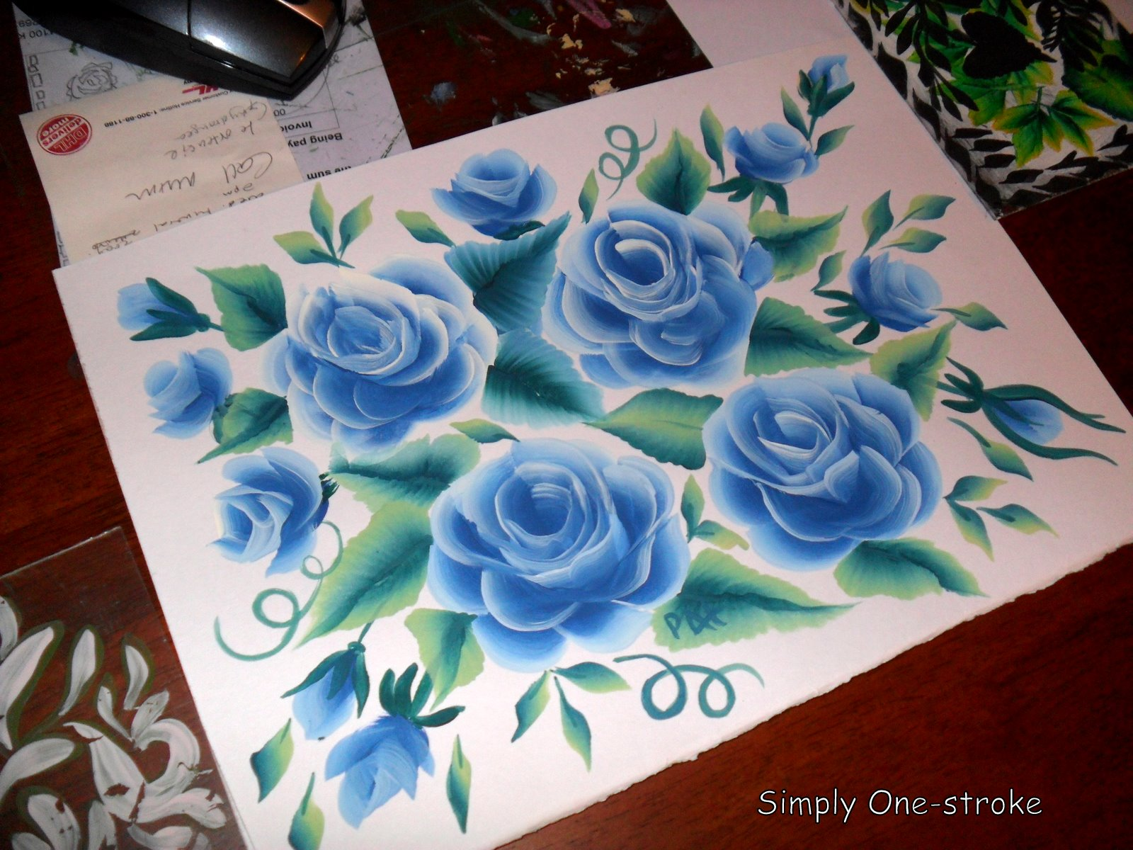 One Stroke Painting Sunflowers http://frivoloussrocks.blogspot.com/2010/07/my-blue-roses.html