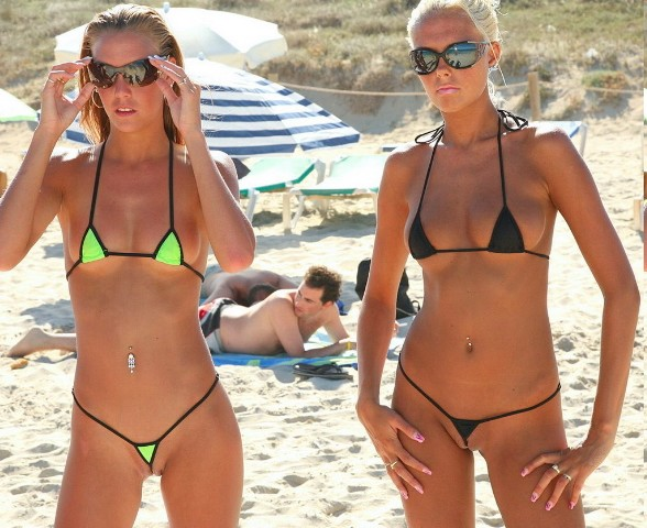 Sexy women in thong bikinis
