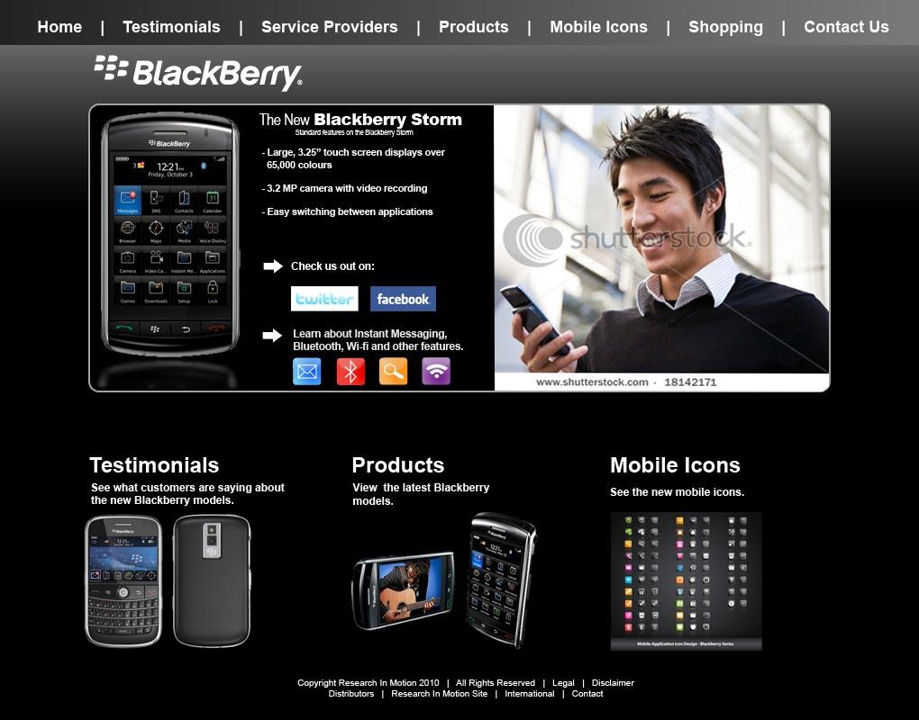 RIM Blackberry Bold 9700 GUI PSD Mockup