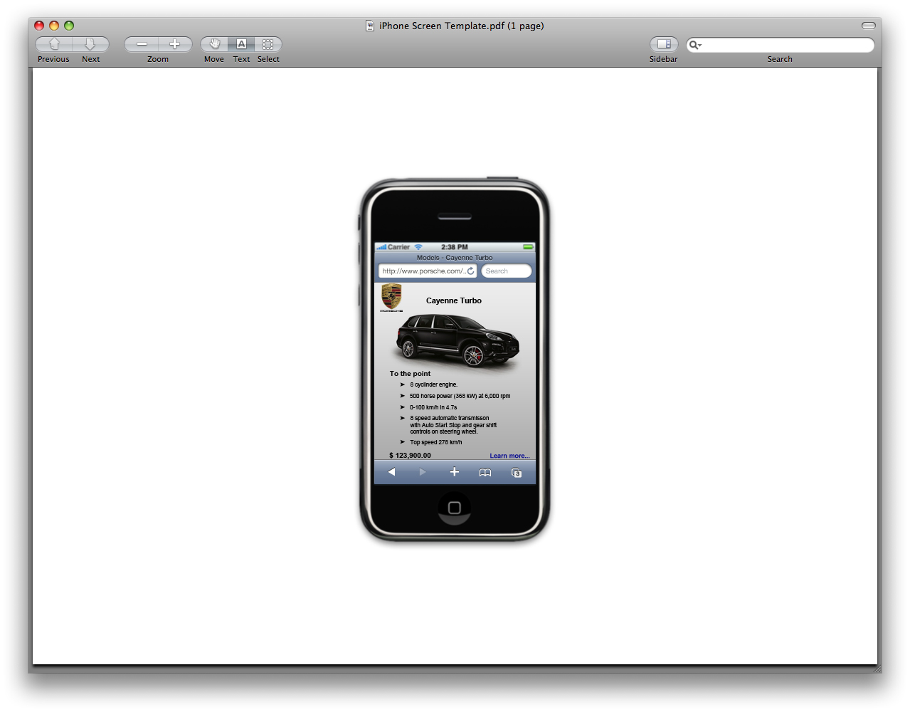 Gallery 91 Inc.: Iphone web page screen shots: Porsche version 2.0!