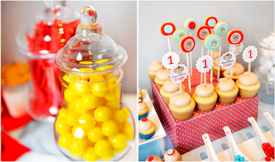 gumballs and cupcake toppers
