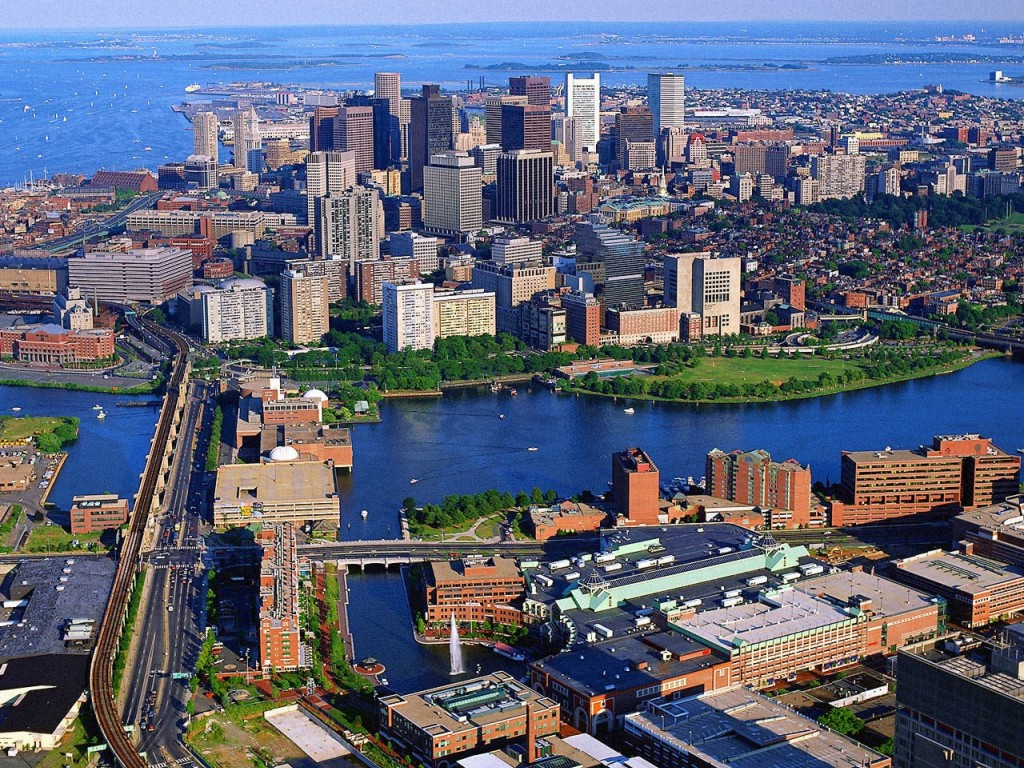 Megalopolis: Urban growth in Boston, with its harbors, large buildings ...