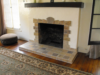 New home construction new tile fireplace for a 1920 39 s for Spanish revival tile