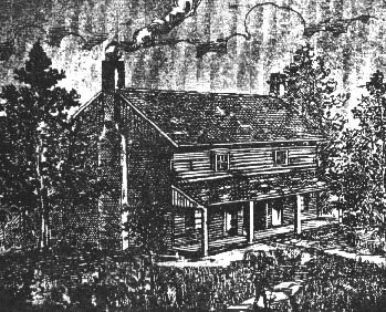 An artist's etching of the Bell home,