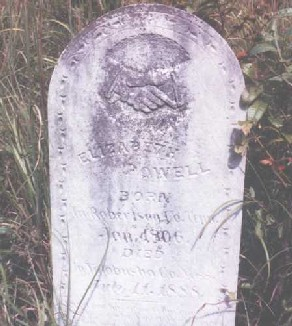 Gravestone of Elizabeth Bell Powell in Yalobusha County, Mississippi