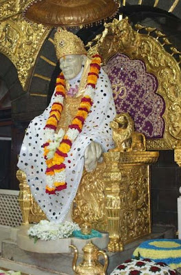 Walls of Sai Baba temple in Shirdi adorned with gold sheets
