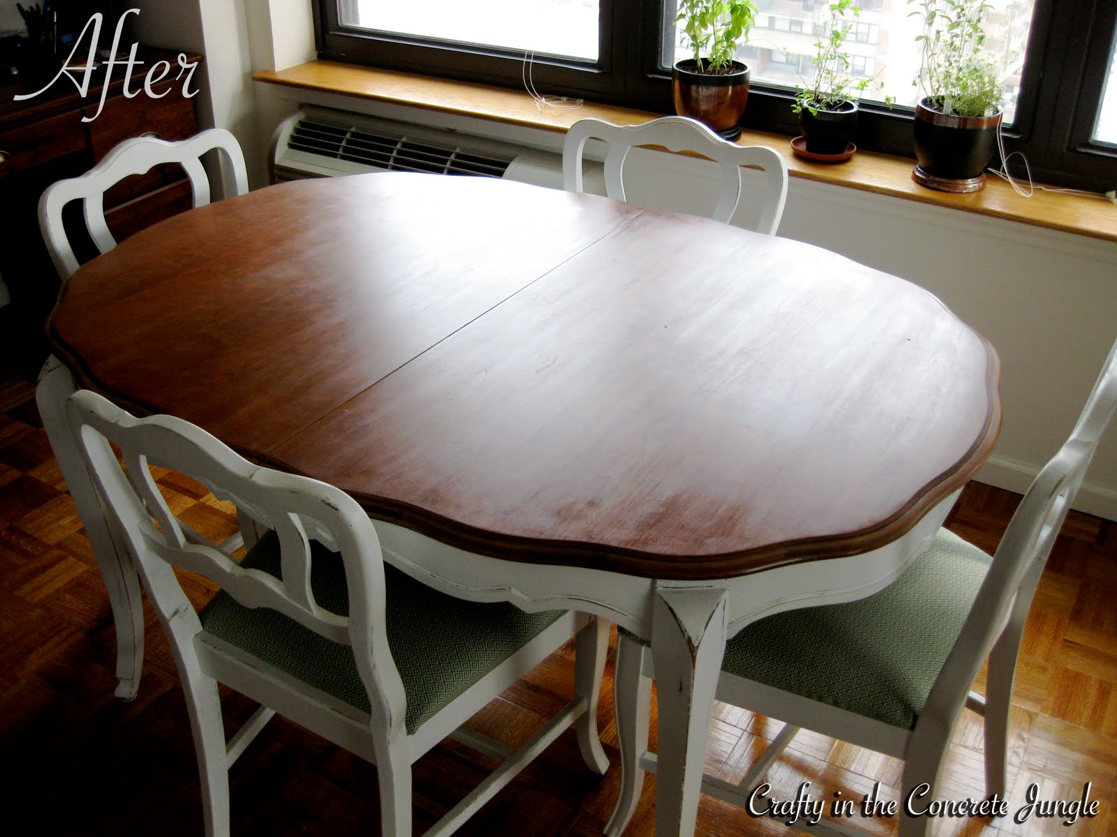 Crafty in the concrete jungle before and after dining for Painted dining table before and after