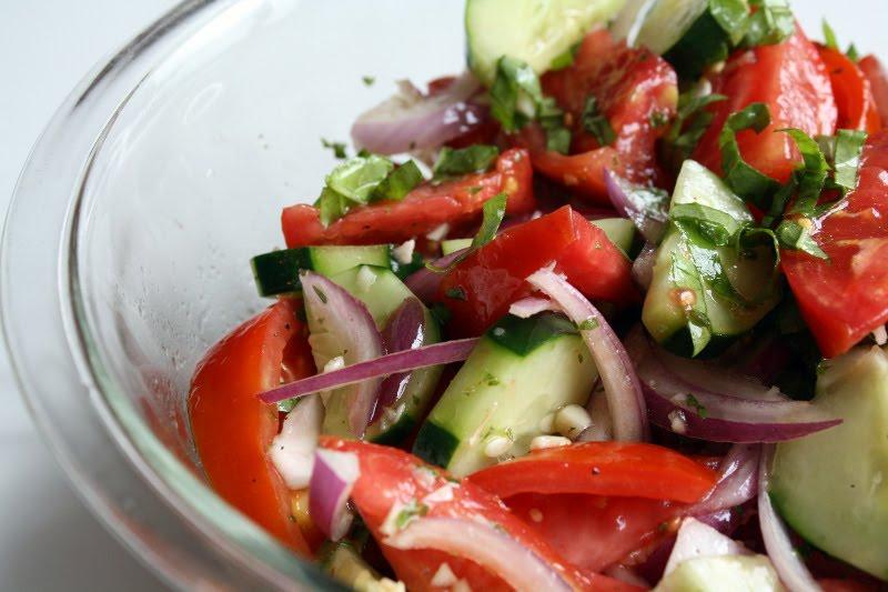 Rah Cha Chow: Dinosaur BBQ Tomato Cucumber Salad