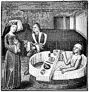 Anónimo'Banho e refeição'gravura medieval