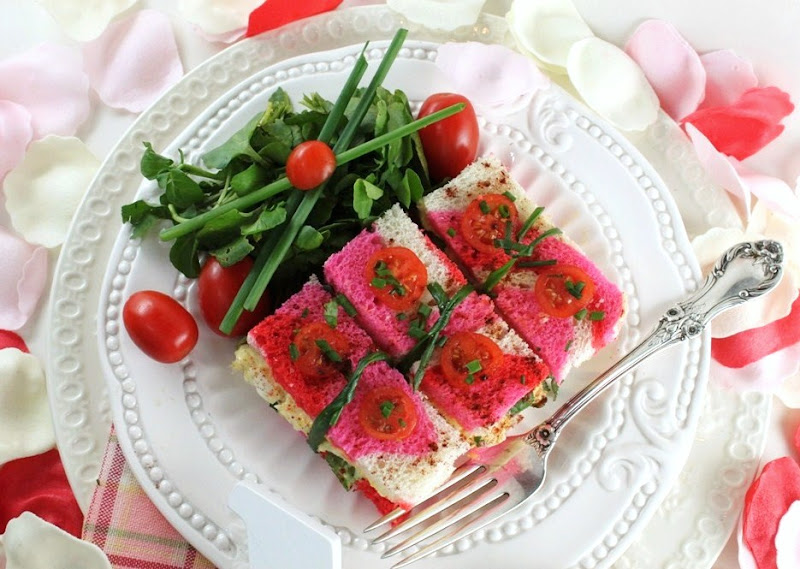 This Valentine's Eve, I made itty egg salad sandwiches on savory pink ...