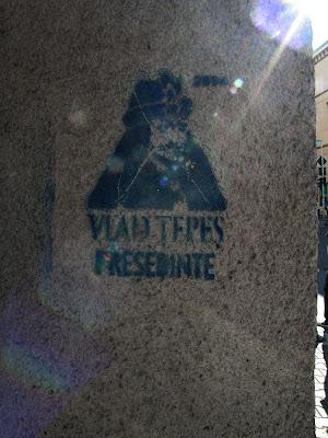 Cluj, Drakula, elnök, Kolozsvár, presedinte, impaler, Románia, stencil, street art, Vlad Ţepeş