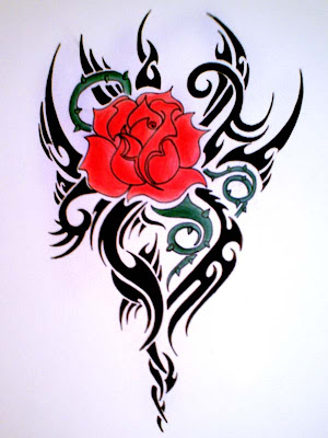 tribal rose tattoo 9