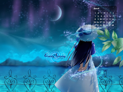 March 2009:Fantasy Girl|3d Calendar Wallpaper