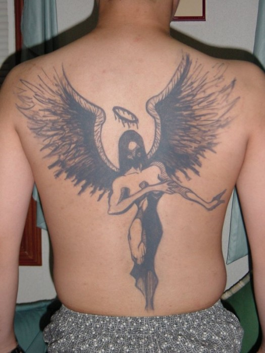 Angel fantasy tattoo design