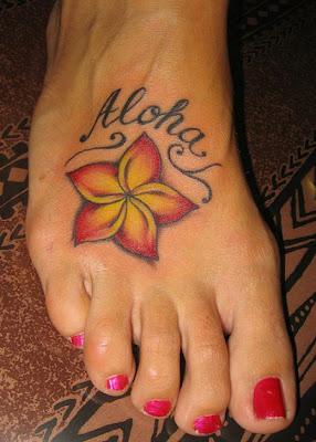 hawaiian flower tattoo design for girls 8
