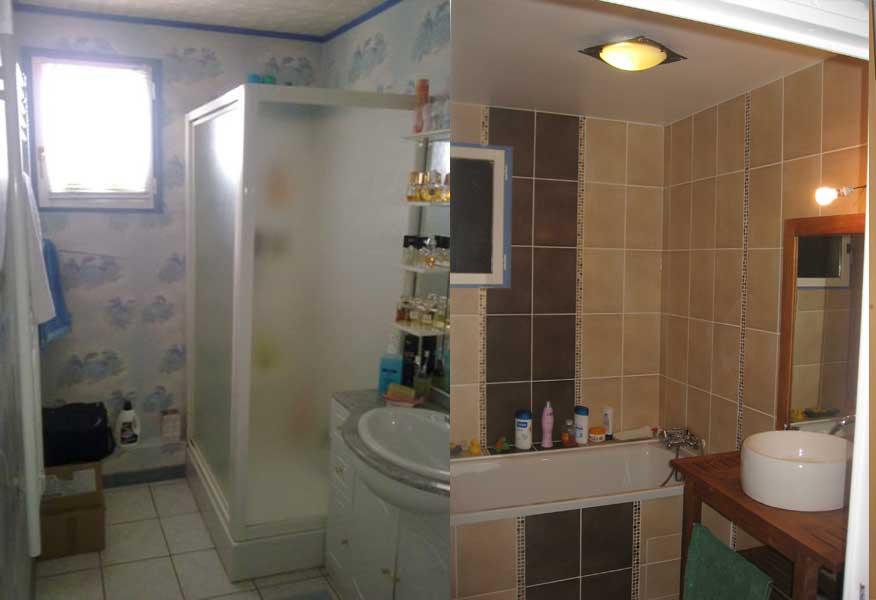La maison aux volets verts salle de bain avant apres for Salle de bain avant apres