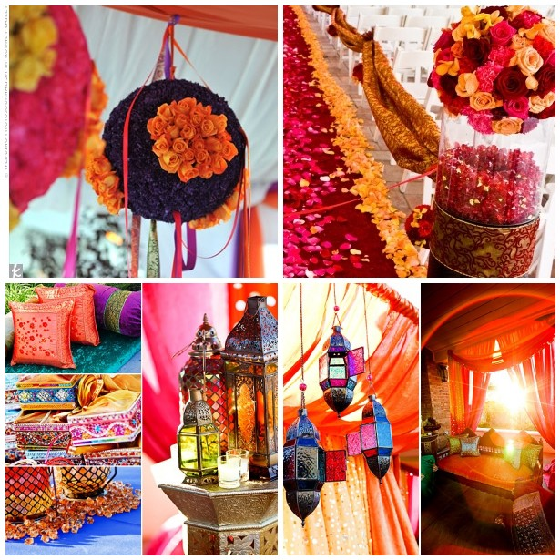 having a Indian themed wedding Hanging flower balls made of orange