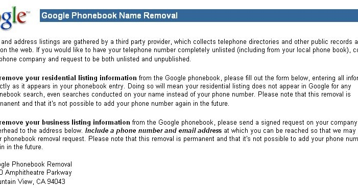 google phone book removal