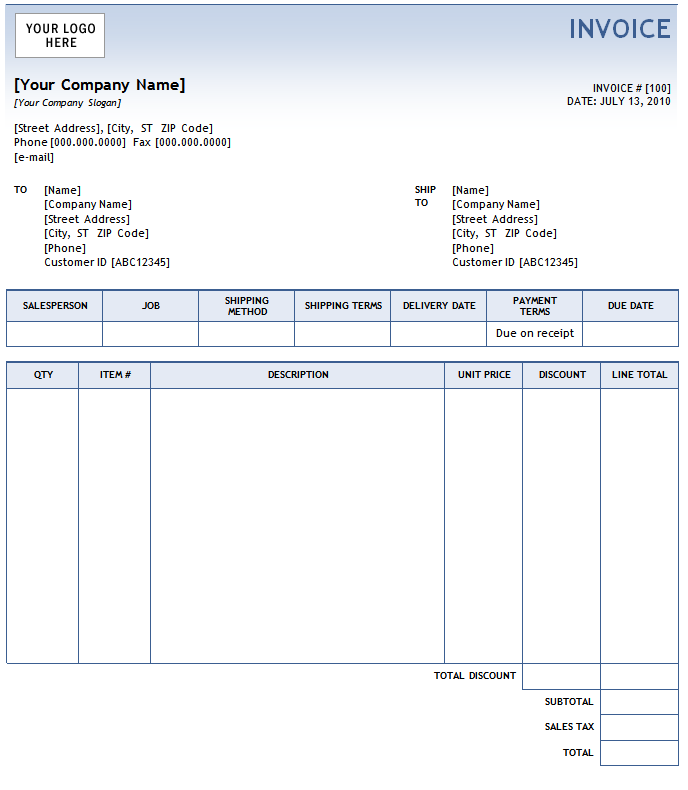 sample accounting invoice