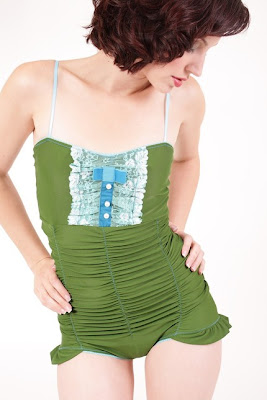 ruched green one piece swimsuit by ladramaqueen on etsy