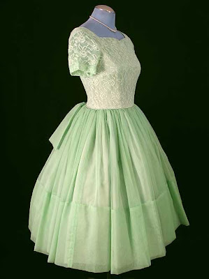 couture allure vintage fashion 1960s green vintage lace chiffon full skirt party dress