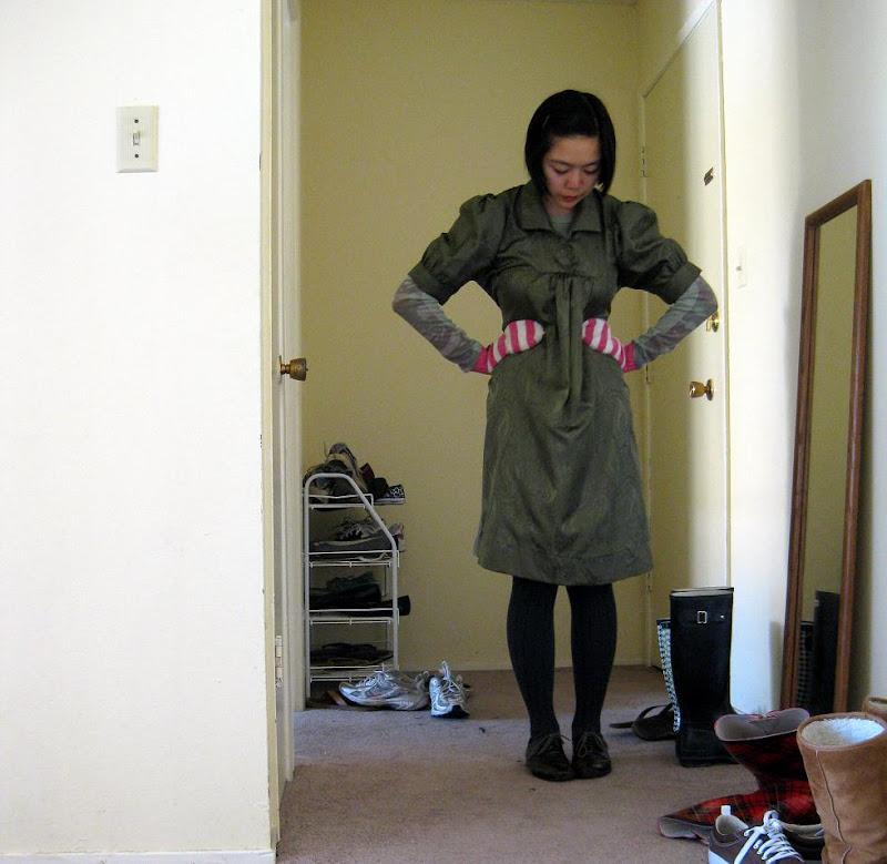 green puff sleeve dress, J. Crew mittens