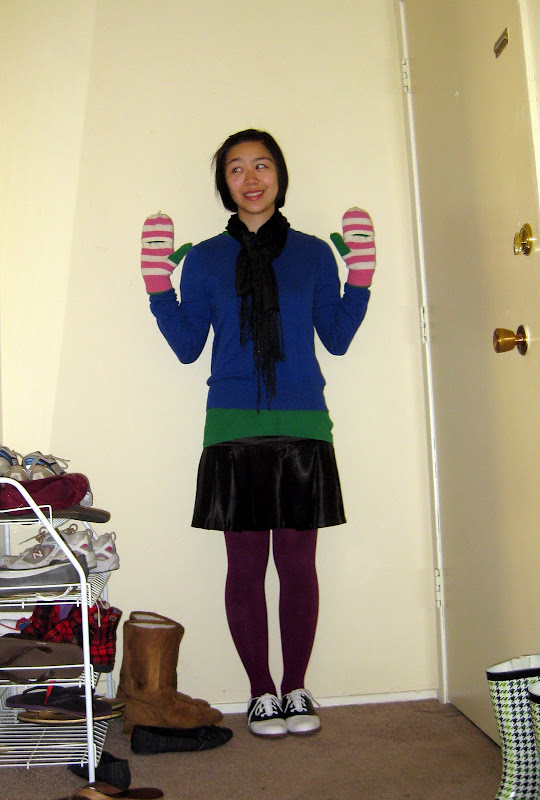 green purple blue colorblocking J. Crew mittens