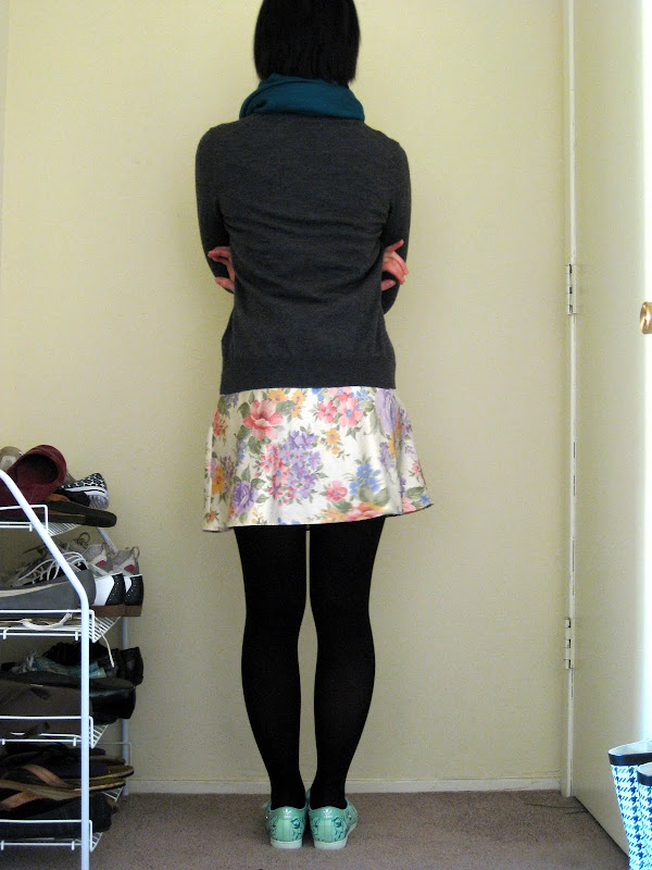 floral slip, gray uniqlo cardigan, teal pashmina, fafi for adidas
