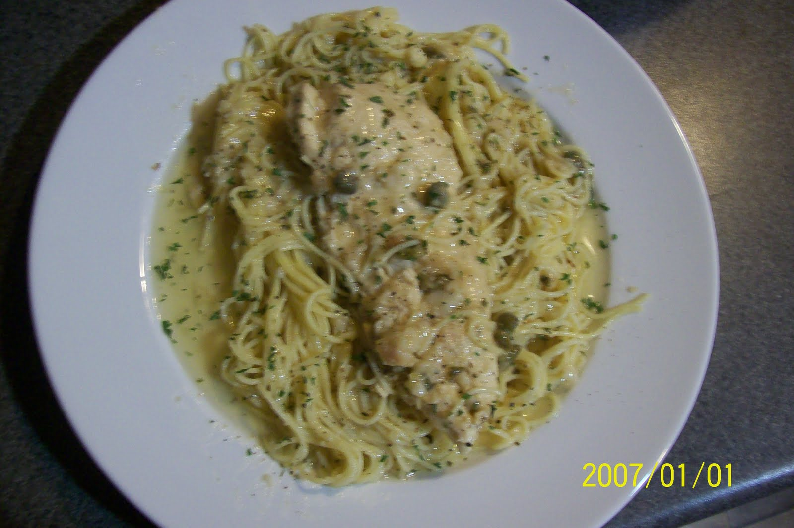 Good food,Good life: chicken picatta with angel hair Chicken Saltimbocca With Angel Hair