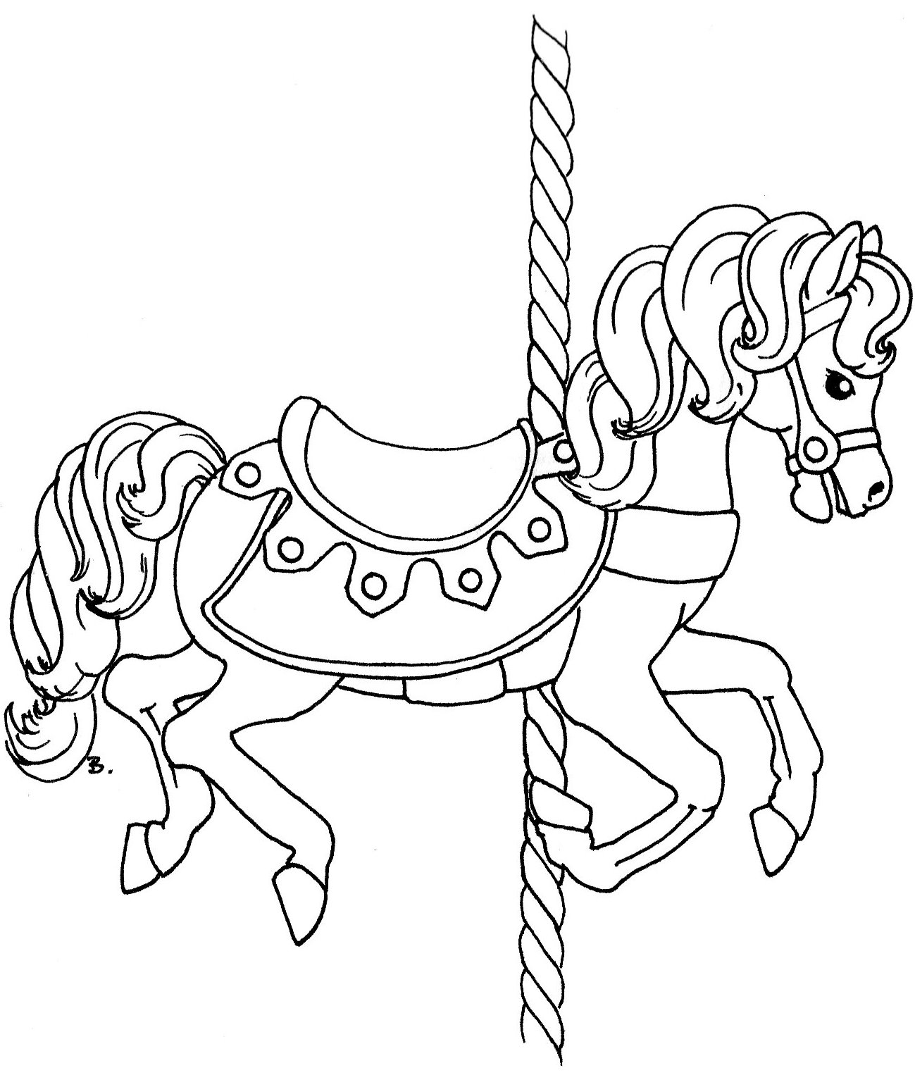 carousel animals coloring pages - beccy 39 s place carousel horse with rug