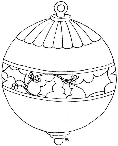 coloring pages christmas baubles hanging - photo#21