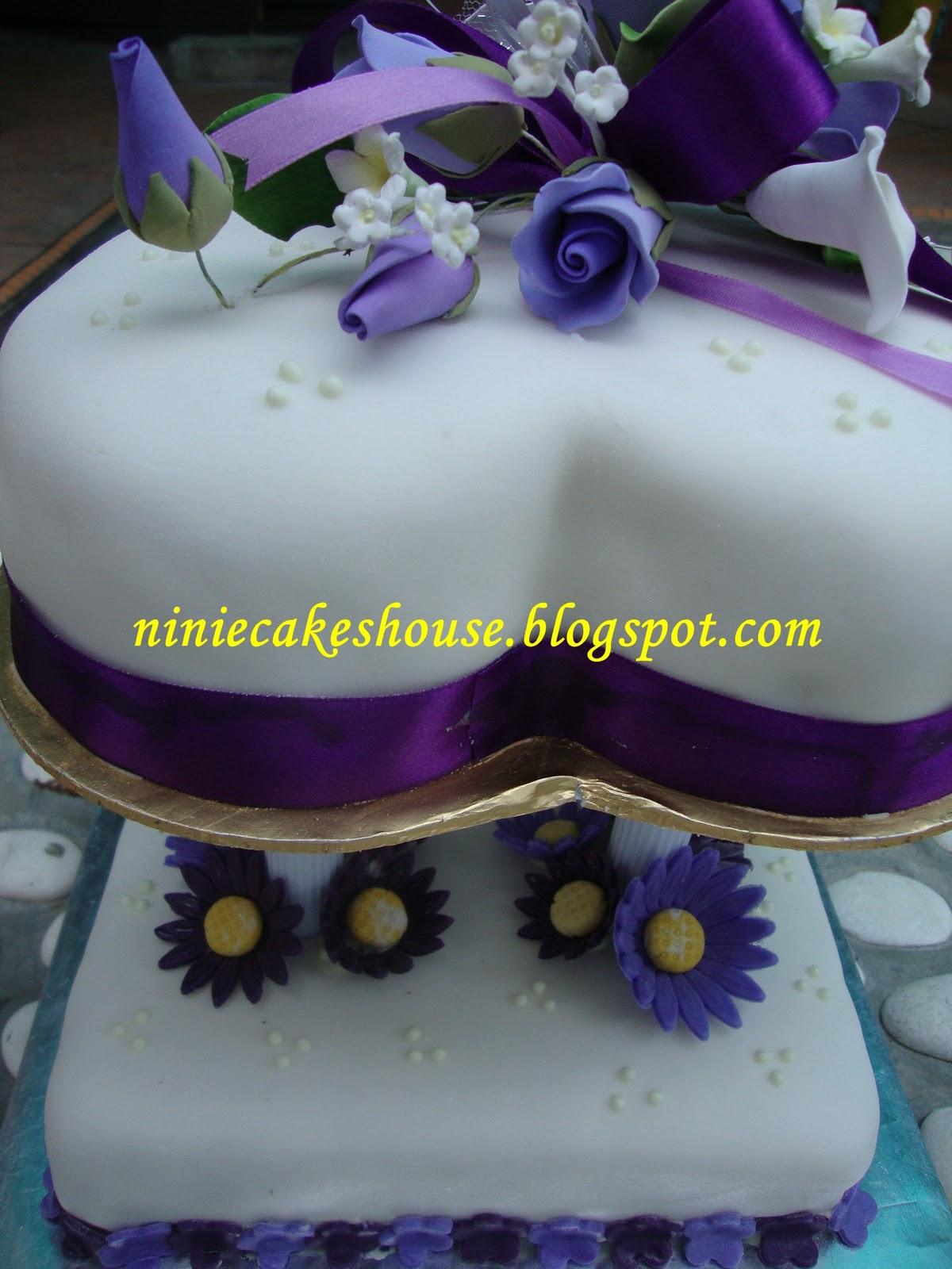 ninie cakes house 2 tier Wedding Cakes Purple and White
