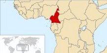 Situering Kameroen in Afrika