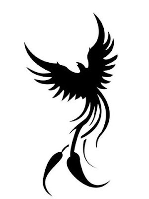 black tribal phoenix tattoo