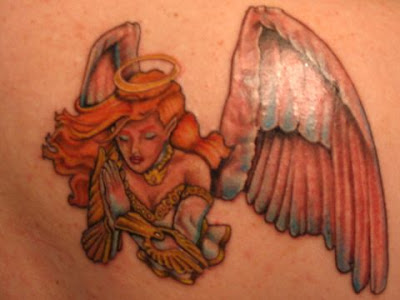 This picture design angel tattoo. The angel is thought to have set duties,