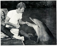Richard O'Barry avec un dauphin