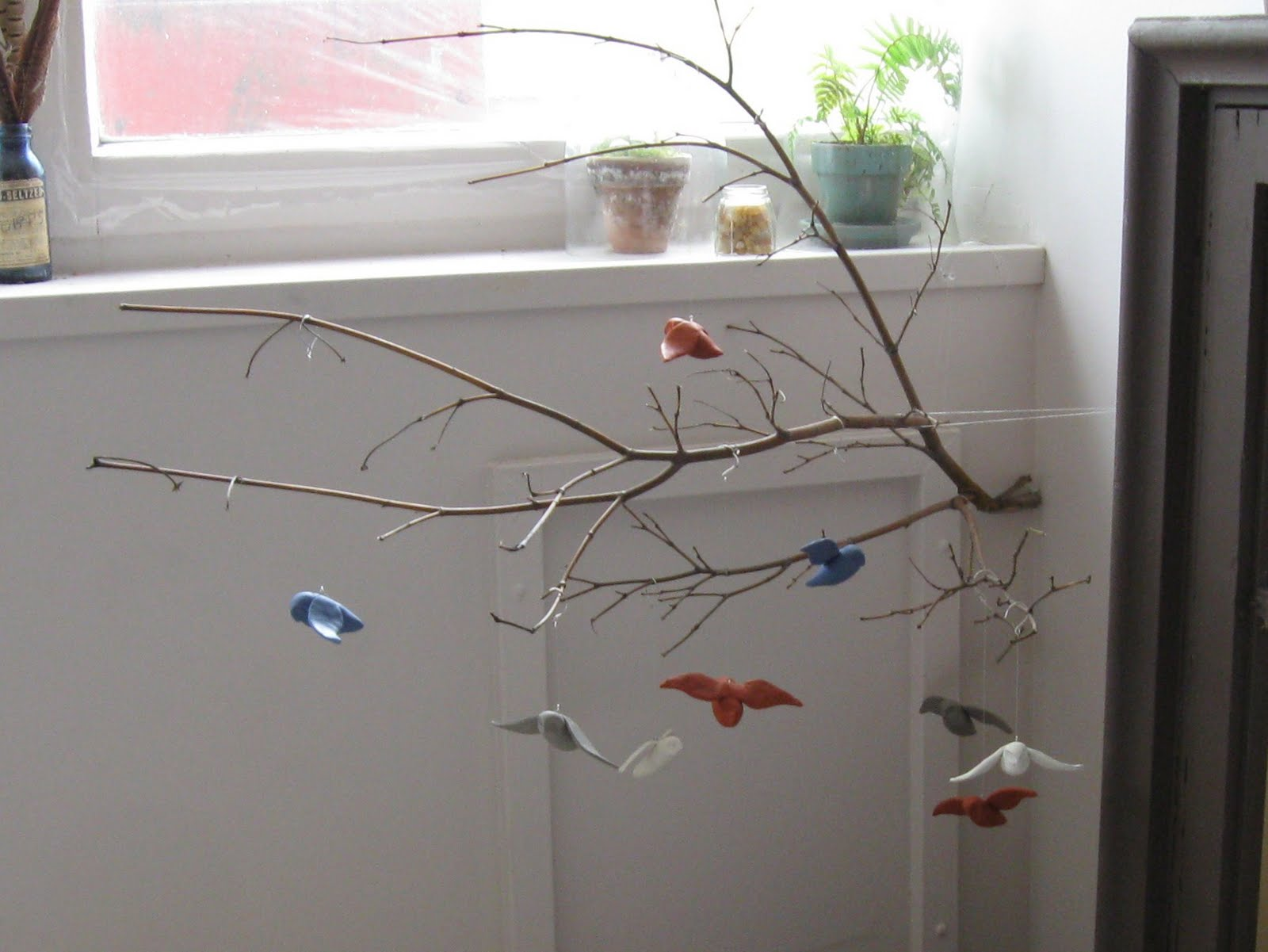 Moth and sparrow woodland mobile with tutorial for Homemade crib mobile