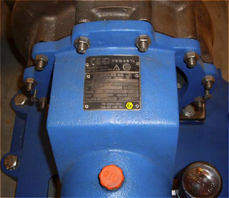 Equipamento mecânico para atmosferas explosivas – Caixa de engrenagem com marcação Ex cb II T2